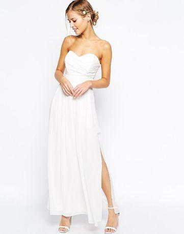 Sukienka ASOS ślubna,,biała/kremowa suknia,poprawiny XS+bolerko