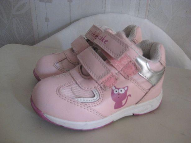 Кроссовки весенние розовые девочке.Легкие,закрытые,на липучках. р21