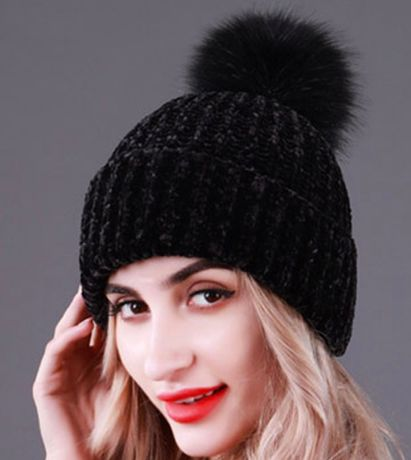 Черная акриловая женская зимняя шапка крупной вязки с помпоном, акрил