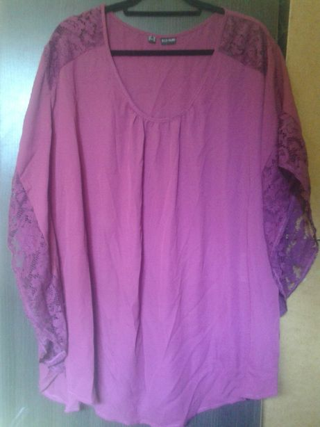 elegancka bluzka. rozm. 52. z koronkowymi wstawkami. rękaw kimono