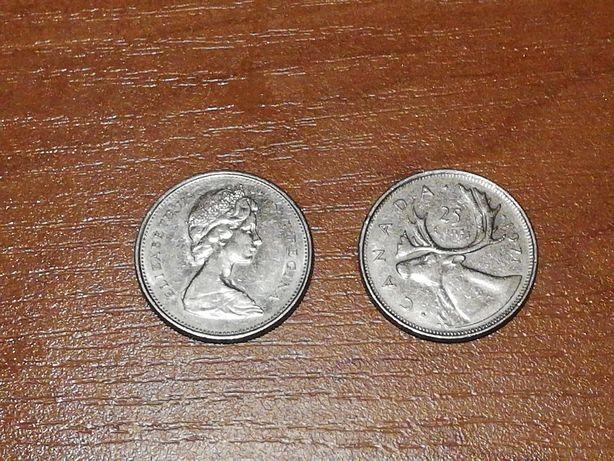 Moneta 25 centów 1971/76/77/86 Canada Elżbieta II (4sztuki)