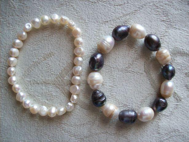 perły naturalne czarne białe bransoletka