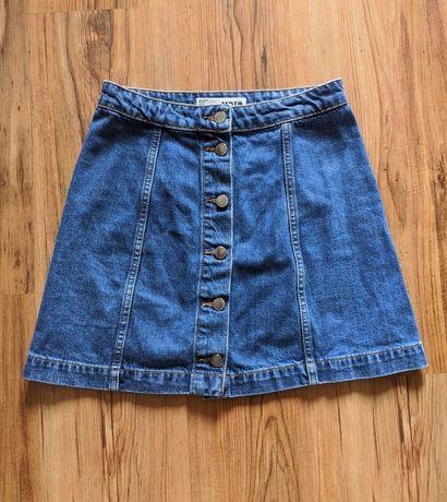 Jeansowa spódniczka spódnica na guziki wysoki stan TopShop 36 S