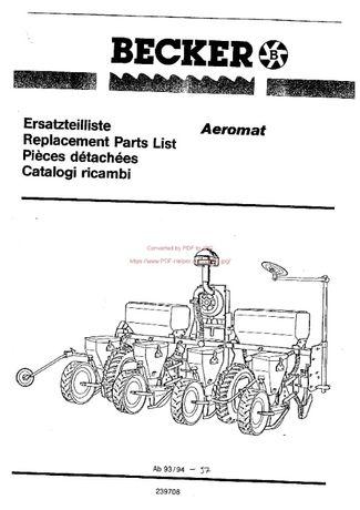 Katalog części siewnika BECKER Aeromat 94-97 SPARE PARTS
