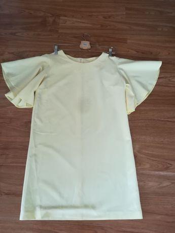 Sukienka okolicznościowa prosta żółta na wesele falbany
