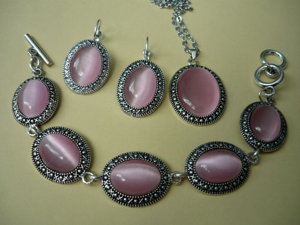Komplet biżuterii różowy