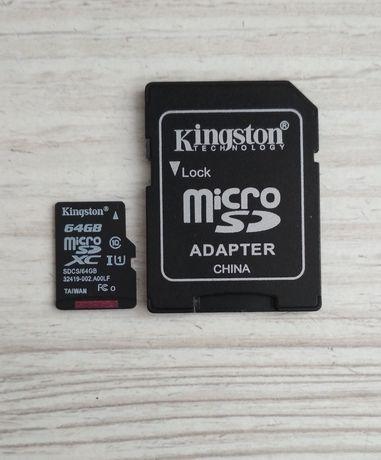 Карта памяти Kingston microSDXC 64GB + SD адаптер (SDCS/64GB) 80 MB/s