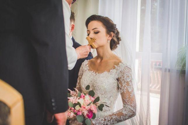 Suknia ślubna koronka i tiul 34/36 odpinane rękawy