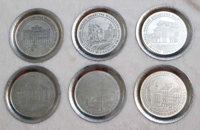 Metalowe podkładki Warszawa prl souvenir kolekcja