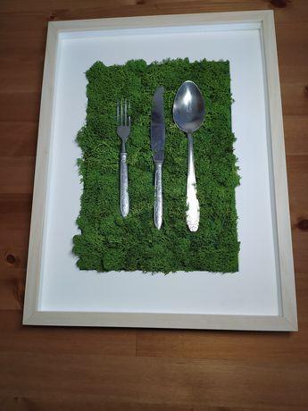 Obraz chrobotek mech kuchnia sztućce