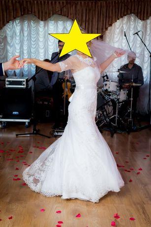 Wyjątkowa suknia ślubna koronka tiul 36,38 S M + akcesoria