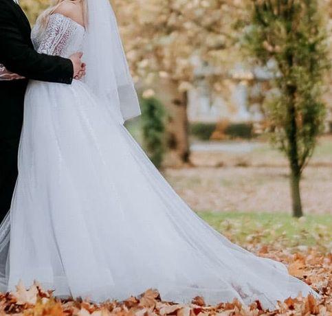 Suknia ślubna księżniczka  princessa biała długi rękaw