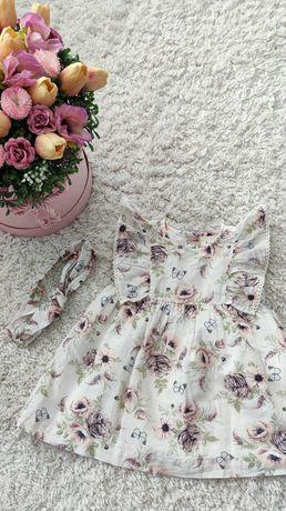 Sukienka + opaska Newbie rozmiar 74 motyle