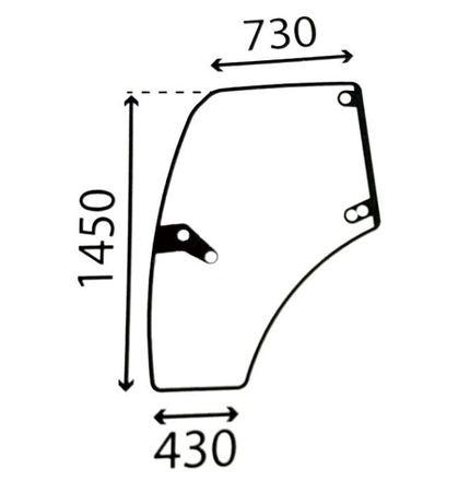 Szyba drzwi PRAWE gięte DEUTZ SAME LAMBORGHINI 0.012.1432.0/20