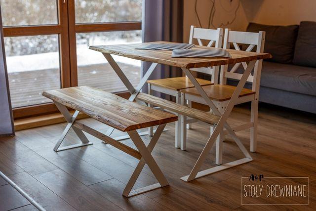 Komplet: Stół i ława białe wykończenie