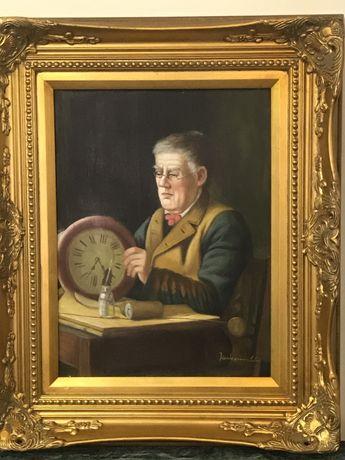 Картина Старинная»Часовщик»-Холст.Масло.