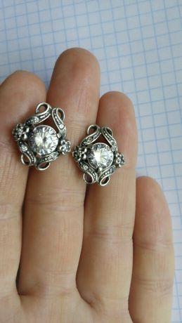 Серебряные серьги сережки серебро