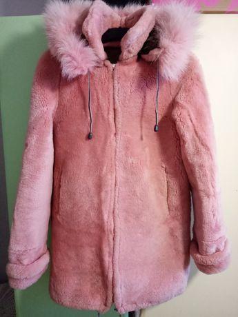 Шуба шубка натуральная розовая мутон, воротник песец подростковая XS
