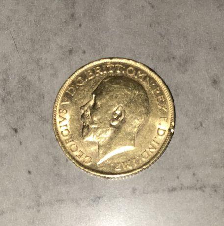 Złota moneta 1/2 suwerena suweren Georgius V