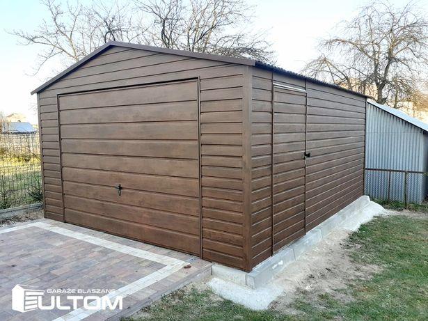 Garaż blaszany drewnopodobny 4x6 dwuspadowy wzmocniony blaszaki ULTOM