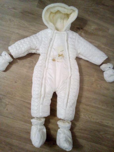 Комбинезон bubbly baby демисезонный или на теплую зиму белый 9-12 мес