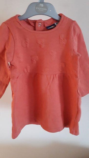 Ocieplana koralowa sukienka dla dziewczynki Lupilu serduszka 86-92