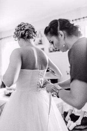 Biała tiulowa sukienka balerina, suknia ślubna, pin up, retro