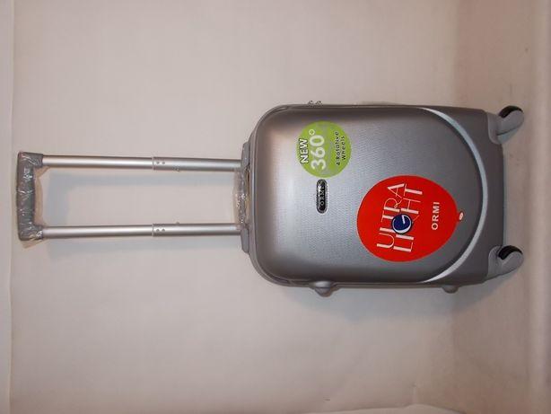 Walizka średnia torba podróżna ABS -srebrna