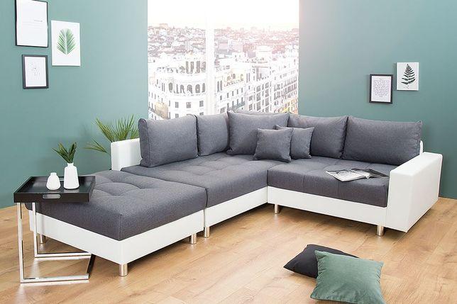 Super kanapa narożna z pufem MINI PRINCE funkcja spania pojemnik
