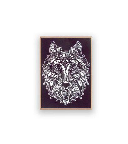 wilk obraz czarno biały, obraz z wilkiem, wilk grafika na scianę plaka