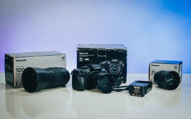 Panasonic Lumix DMC-G7 + Zestaw trzech obiektywów