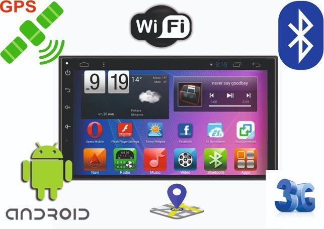 Автомагнитола 2DIN Android BT GPS Андпроид блютус жпс двухдиновая