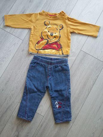 Zestaw spodnie dzinsy ocieplane + bluzka Kubuś Puchatek rozm 62