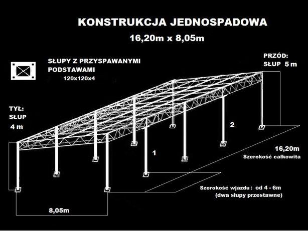 Konstrukcja skręcana wiata rolna garaż (16m x 8m) Hala Magazyn Blaszak
