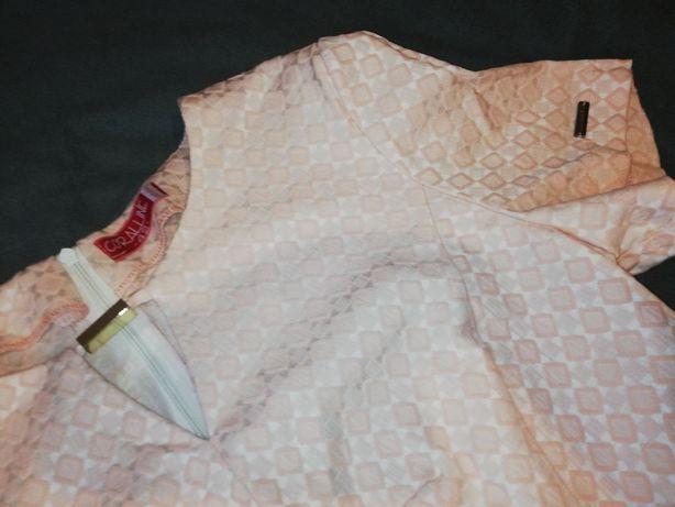 Sukienka xl/42 brzoskwiniowa święta ślub wesele chrzciny komunia