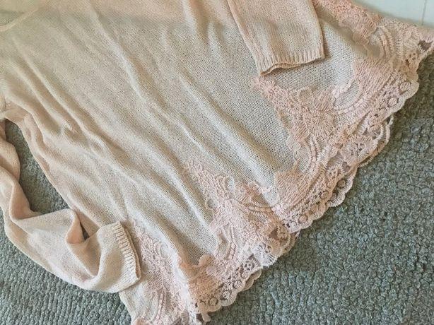 Nowy sweter damski koronkowy S 36 luźny elegancki chrzest ramoneska