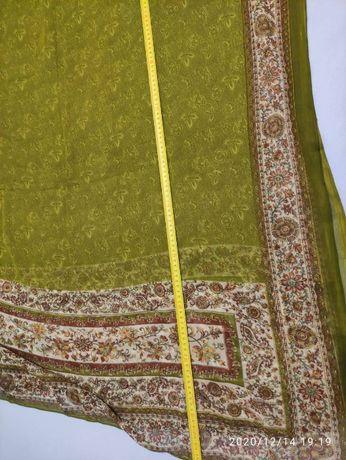 tkanina materiał szyfon poliester zielony kwiaty