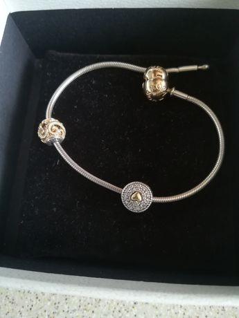 Pandora Essence, bransoletka, koral charms złoto 585