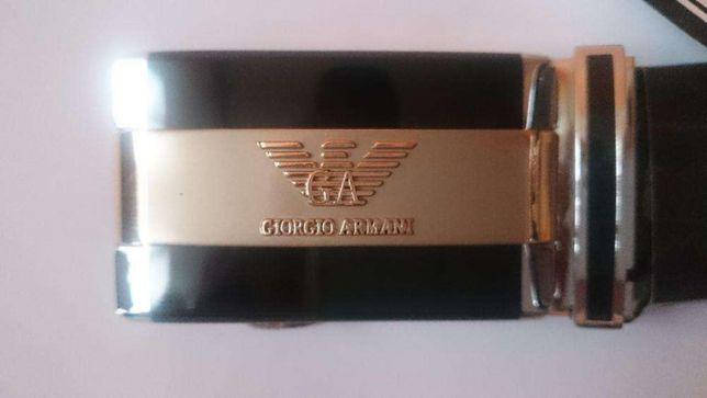 Sygnowany logiem pasek GIORGIO ARMANI nowy skóra natu 125cm