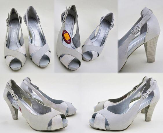 sprzedam buty ślubne skórzane na słupku kremowe Marco Tozzi