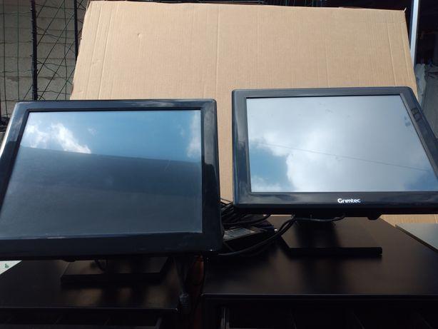 2 caixas registadoras com ecras touch e computador conpletas