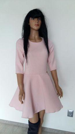 S.Moriss sukienka pudrowy róż rozkloszowana S %%