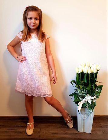 Sukienka dziewczęca koronka różowa 92-116cm