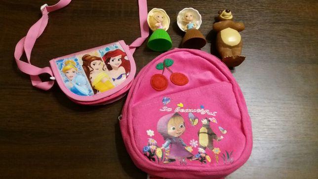 Маша и медведь - рюкзак, медведь, сумка и 2 куклы-кекс