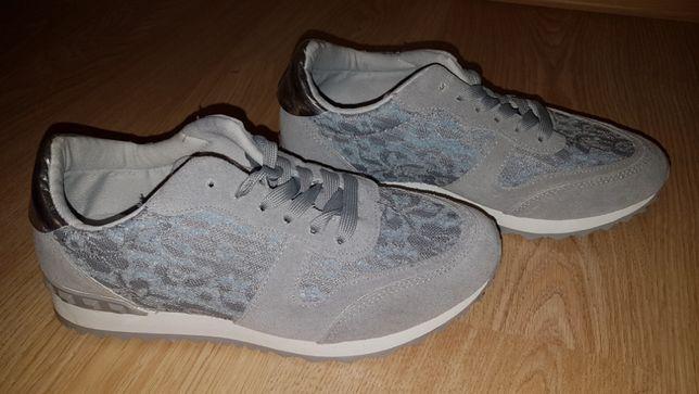 Adidasy buty sportowe damskie szaro-niebieskie z koronką roz, 39
