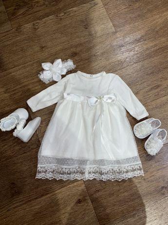 Платье нарядное с туфельками, повязкой