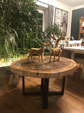 Stolik drewno drewniany loft kawowy ozdobny stół