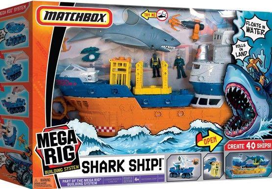Statek, rekin, nurek, harpun - zestaw Matchbox Mega Rig Shark Adventur