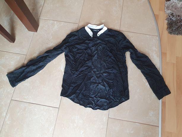 Czarna koszula sinsay XS 34 w biale kropki