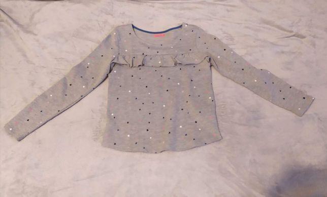 Nowa szara bluza dziewczęca w serduszka z falbanką 140 cool club